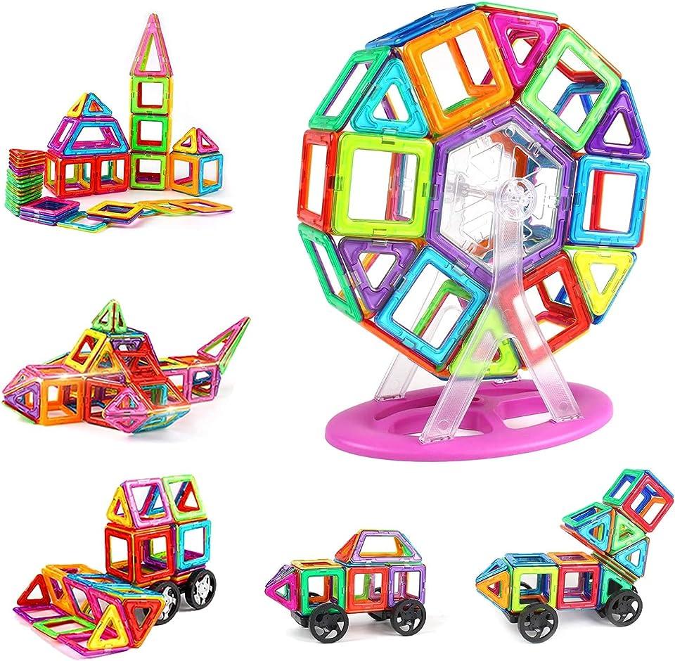 KIDCHEER Magnetisch Baustein mit Räder 100 Stück Kinderspielzeug Magnet Spielzeug 3D Bausteine Lernspielzeug mit MEHRWEG Aufbewahrungstasche Junge Mädchen ab 3 4 5 6 7 8 9 Jahre, Bunt