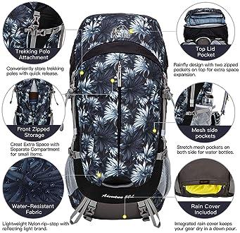 Aveler 50Liters Unisex Lightweight Nylon Internal Frame Hiking Backpack with Integrated Rain Cover