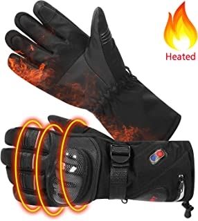 BIAL Heated Gloves with Knuckle Protection Heating Warm Skin Leather Touch Screen Motorcycle Gloves Rechargeable Gloves for Men Women Riding Skiing