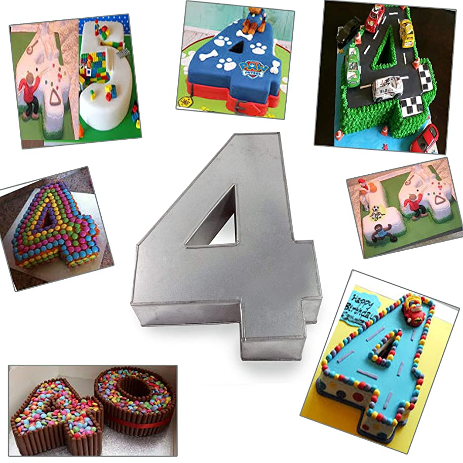 Large Number Four Birthday/Wedding Anniversary Cake Tins/Pans/Mould 14
