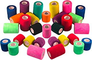 Cohesive Bandage Self Adherent Wrap FDA Approved Self Adhesive Elastic Tape Rolls Medical First Aid Supplies,  3 inch x 5 yards 6, 12, 18,  or 24 Pack,  Assorted Colors and Patterns
