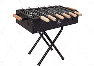 H Hy-tec (Device) HYBB-14 Kriss Cross Charcaol Grill with 6 Skewers, 1 Grill & 1 Packet of Charcoal (Matt Black)