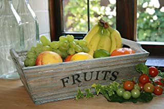 Wooden Fruit Trug Grey Washed Container Bowl Box Farmhouse Rustic Country Style