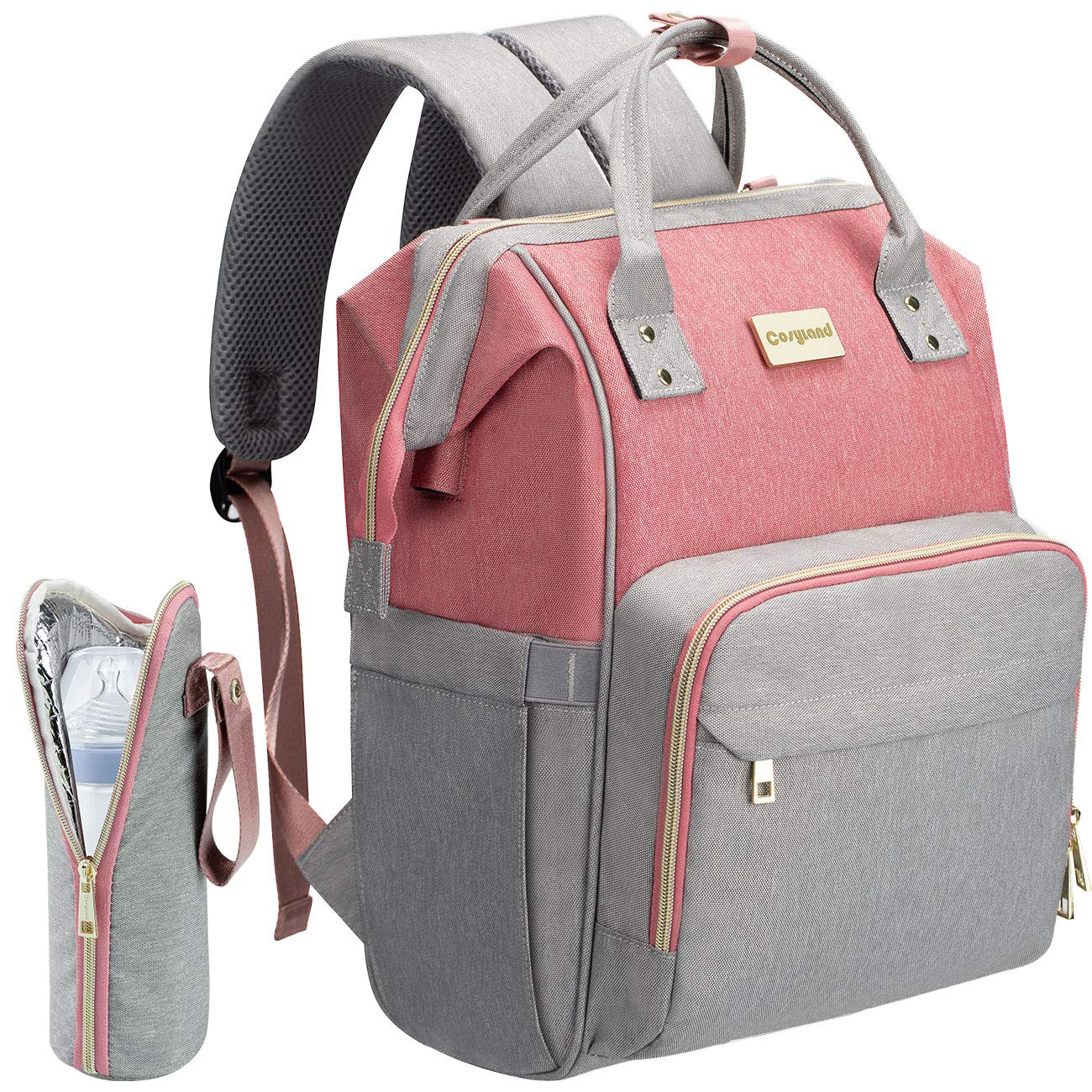 Diaper Bag Backpack, COSYLAND Mom Travel Backpack Nappy Bags Large Capacity Maternity Bag with USB Charge Port Stroller Strap Wide Shoulder Strap Insulated Pockets Pink