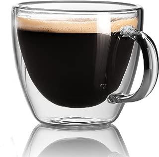 Espresso Cups - Extra-Strong Double Wall Insulated Glasses - Espresso Mug Set of 2. 5.4 Oz - JECOBI