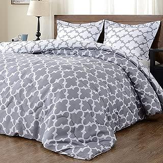 downluxe Lightweight Down Alternative Reversible 3-Piece Comforter Set with 2 Reversible Pillow Shams,Grey, Full/Queen