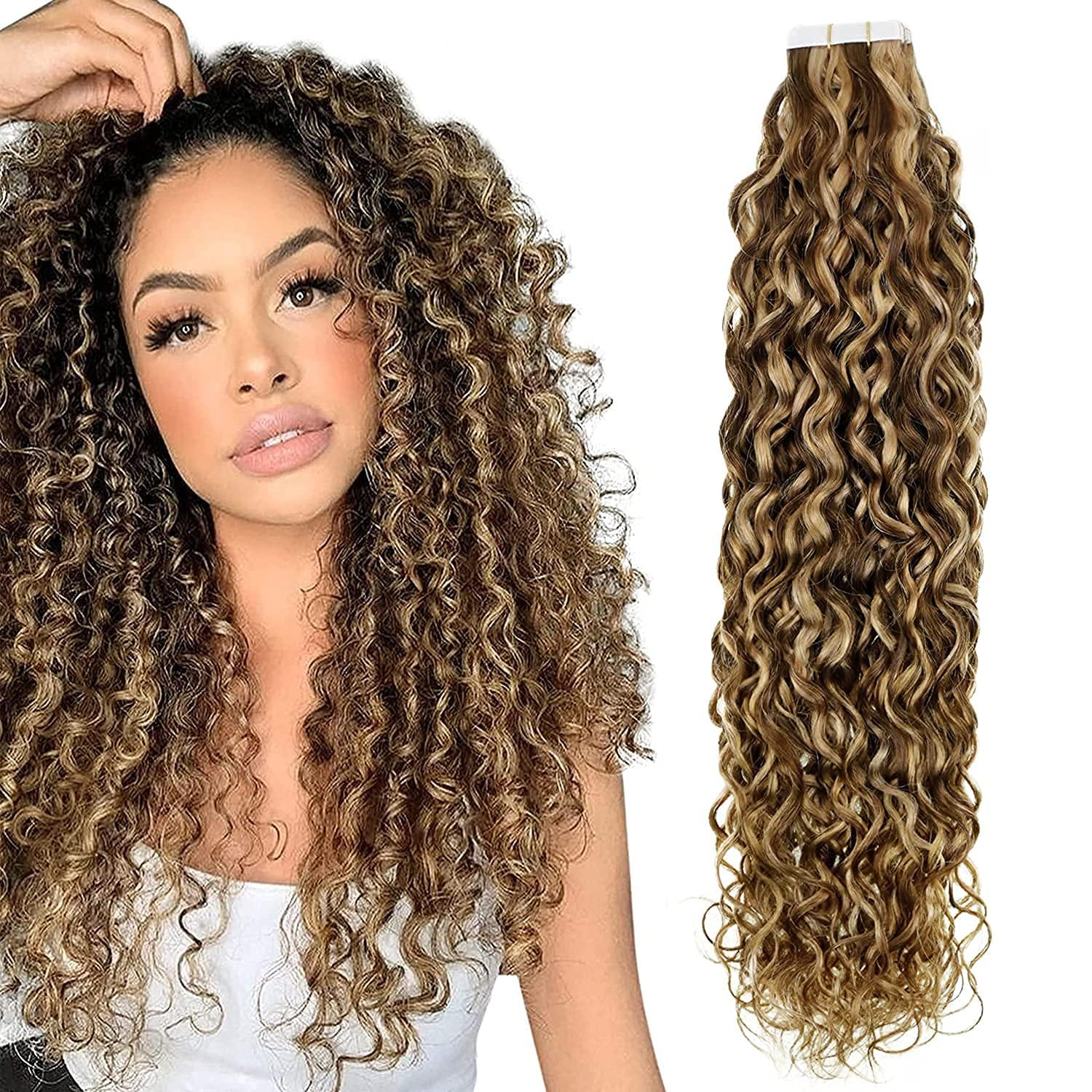 Hetto Blonde 新作 大人気 Tape in Hair Extensions 22 Color #4P27 Inch Curly D AL完売しました。