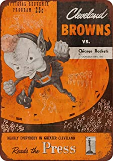 Jesiceny New Tin Sign 1947 Cleveland Browns vs. Chicago Rockets Aluminum Metal Sign 8x12 Inches