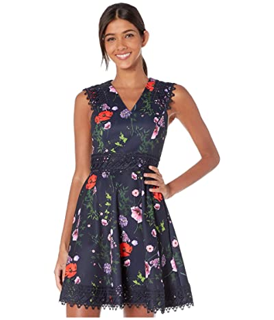 Ted Baker Mayo Lace trim Cut Away Skater Dress (Dark Blue) Women
