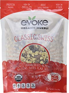 Evoke Organic Muesli Cereal, Classic Swiss, 12 oz - Low Sugar, Enjoy cold or hot! Overnight Oats!
