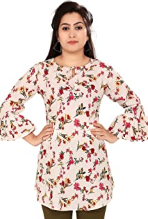 Ayukti Indian Tunic Tops/Short Kurti with Bell Sleeves/Crepe Printed A-Line Kurta for Women & Girls on Jeans