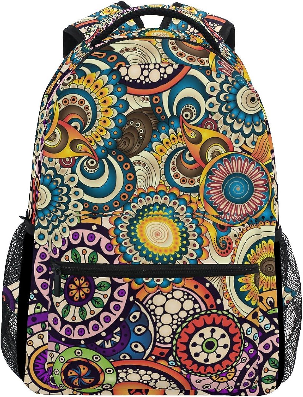 Zzkko Ethnische Blaumen Flower Print Rucksack College Schule Buch Tasche Camping, Reisen, Wandern und Daypack B07BGWG627   Neuer Eintrag