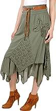 Krisp Womens Bohemian Gypsy Cotton Belted Elastic High Waist Maxi Long Skirt Plus Size