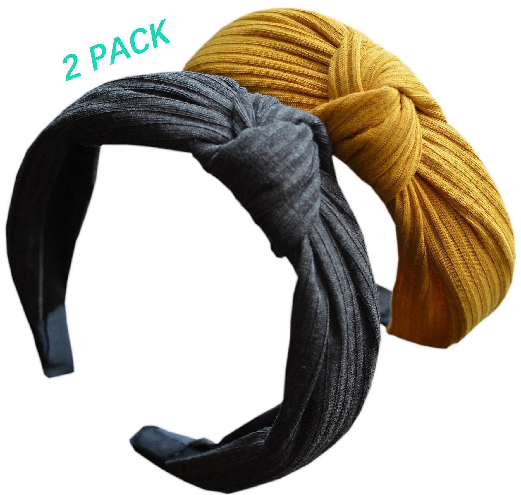 ZaoProteks ZP3302 Wide Plain Fashion Headbands Knot Turban Headband for Girls and Women