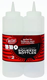 Tablecraft BBQ112C-1 12 oz Clear Heavy Duty Squeeze Bottle (2 Pack)