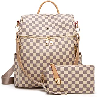 Women Backpack Purse Synthetic Leather Fashion Ladies Satchel Bags Casual Shoulder Bag 2pcs