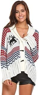 Dickin Women's V Neck Elk/Reindeer Pattern Crochet Knitted Ugly Christmas Sweater Open Front Cardigan