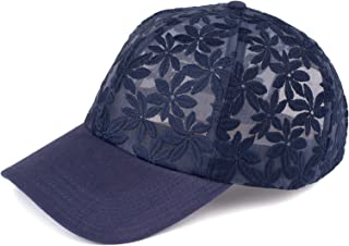Funky Junque Womens Floral Daisy Peony Flower Print Velcro Baseball Cap Hat