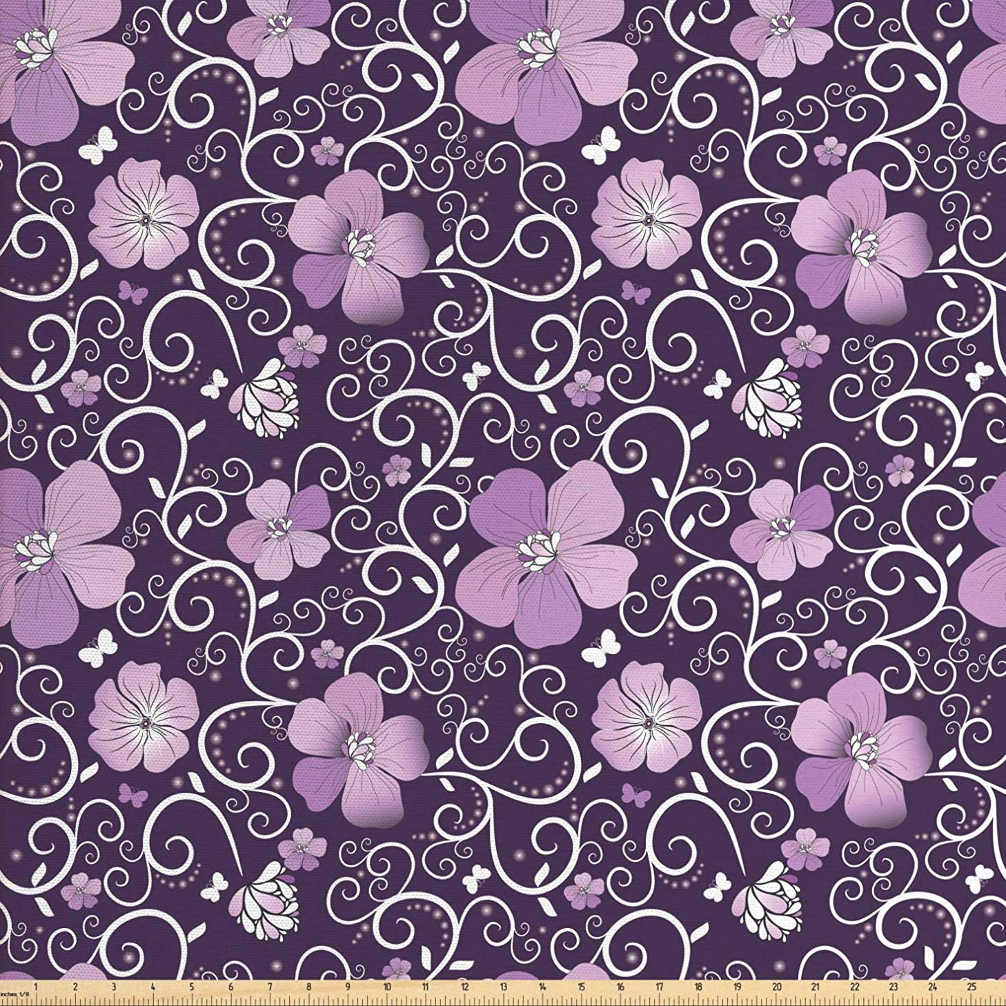Ambesonne Floral Fabric by The Yard, Butterfly Silhouettes with Plant Flower Patterned Design Swirls Curves, Decorative Fabric for Upholstery and Home Accents, 2 Yards, Lilac Dark Purple White
