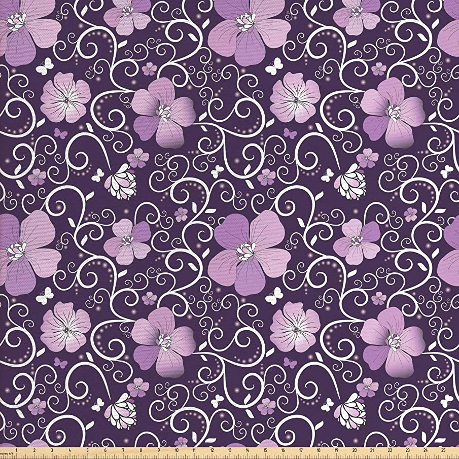 Ambesonne Floral Fabric by The Yard, Butterfly Silhouettes with Plant Flower Patterned Design Swirls Curves, Decorative Fabric for Upholstery and Home Accents, 1 Yard, Lilac Dark Purple White