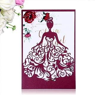 PONATIA 25PCS Laser Cut Crown Wedding Invitations Cards For Birthday Sweet 15 Quinceañera Party Invite, Wedding Bridal Engagement Invite (Burgundy)