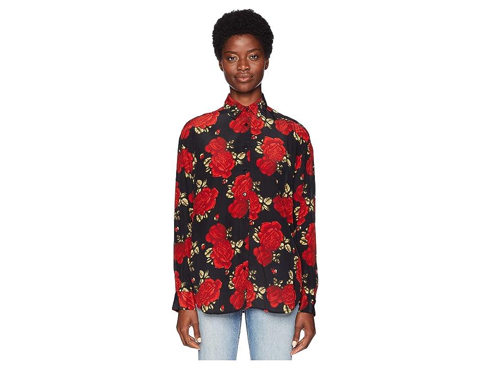 The Kooples Sleeping Rose Print Shirt in China Crepe (Black) Women