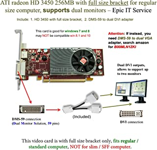 ATI Radeon HD 3450256MBロープロファイルグラフィックスカード( Fullサイズブラケット、DMS - 59to Dual DVIアダプタ)