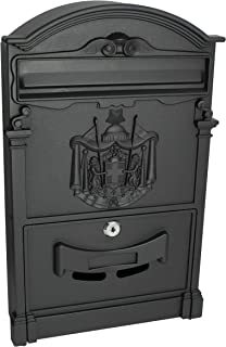 Locking Wall Mounted Mailbox - Vintage Style with Crest Design - Rustic Black Aluminum Mail Box