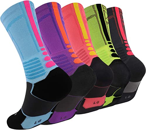 Elite Basketball Socks, Cushioned Athletic Sports Crew Socks for Men & Women