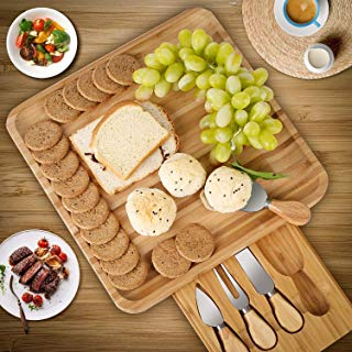 HOMFA Bamboo Cheese Board Cheese Platter with Utensils Set and 4 Stainless Steel Cutting Knives Cracker and Meat Serving Tray for Display, Decorations, and Cheese Lovers