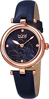 Burgi Women's Artist Pure Essence Diamond Watch with Leather Strap