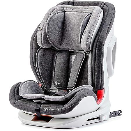 kk Kinderkraft ONETO3 Seggiolino Auto, con Isofix, Reclinabile, Regolabile, Base Sicura, Gruppo 1/2/3, 9-36 Kg, Grigio