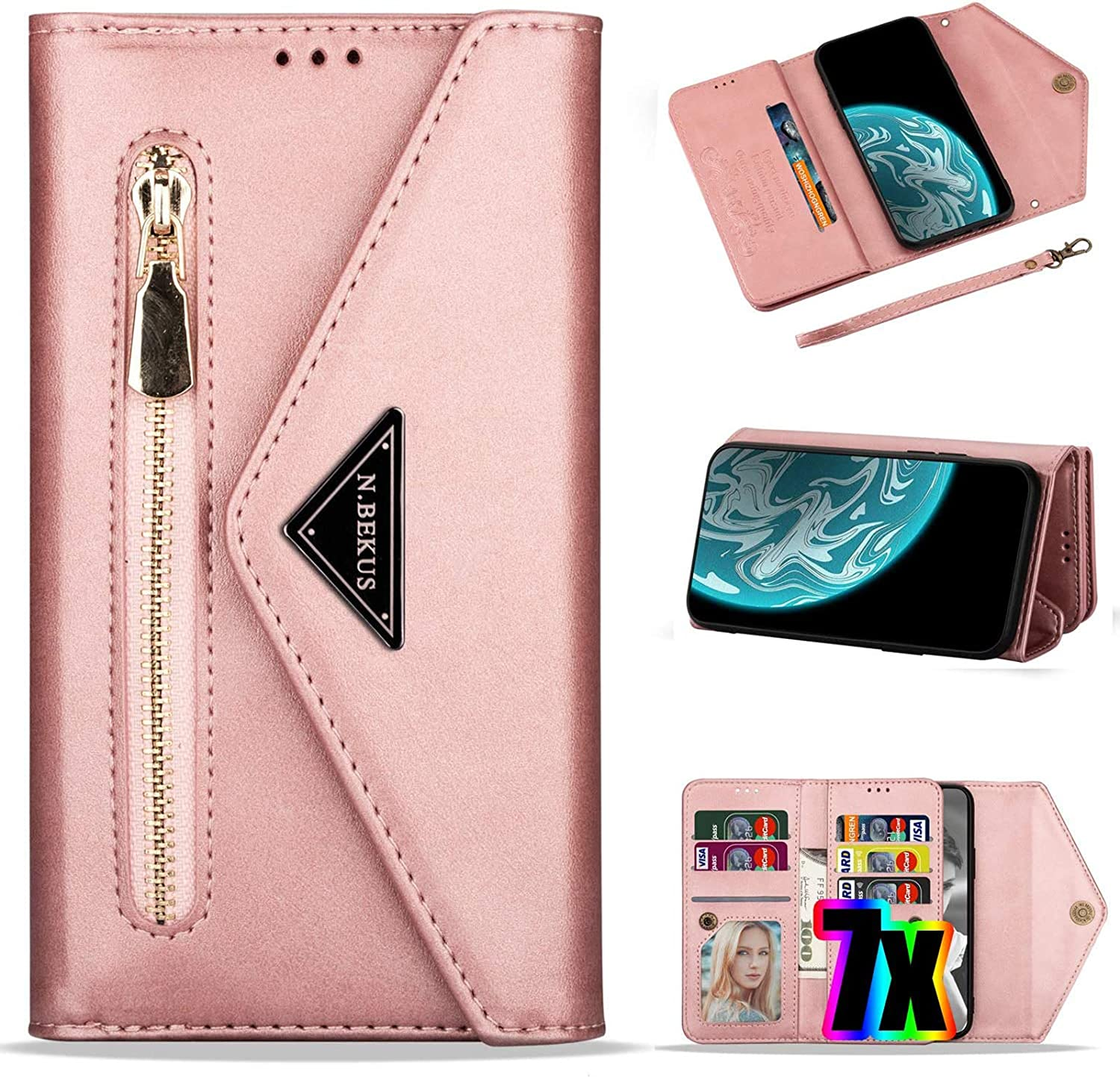 Samsung Galaxy S20 Plus Wallet Case,S20+ Phone Case with Card Holder,Vodico Folio Flip Zipper Pocket Clutch Leather Purse Folding Full Body Shockproof Stand Cover with Strap for Women (Rose Gold)