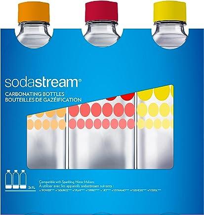 sodastream 4042320990 Pack DE 3 Bouteilles Pet 1L Bulles DE Couleur, Plastique