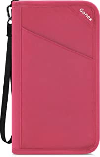 Gonex Passport Holder Travel Wallet Document Holder Pouch Organizer Case RFID Blocking for Women Men with Removable Wristlet Strap Cherry Pink