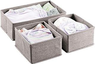 mDesign lot de 3 – boîte de rangement look jute – panier de rangement idéal pour armoire, table à langer, etc. – bac de ra...