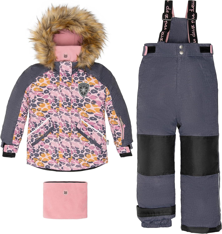 Deux par Deux Two-Piece Snowsuits Girl Kids Snow Leopard Pink, Grey Texture Leopard Print 6 Years