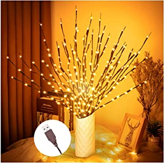"""3PK 30"""" Brown Wrapped Lighted Twig Stake with 60 Warm White LED Bulbs Artificial Willow Lighted Branches for Easter Outdoo..."""