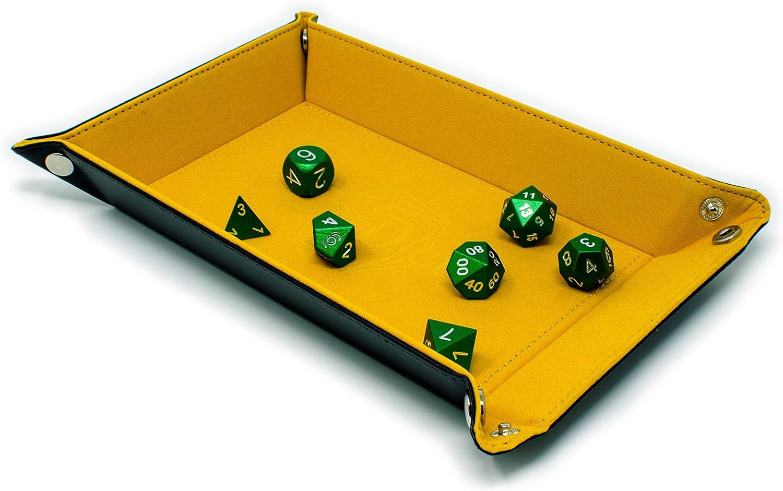 Klappbare Sechskant W/ürfelschalung PU Leder W/ürfelhalter f/ür RPG Dice Gaming DND KINDOYO Large Dice Tray Blau