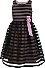 Emma Riley Girls' Sheer Stripe Party Dress with Rosette