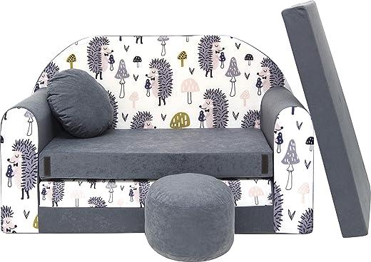 Pro Cosmo Kindersofa Bettfunktion 3in1 Sofa + Gratis Polsterhocker und Kissen Kindermöbel Set – AX1