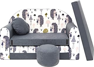 Pro Cosmo Canapé lit avec Pouf pour Enfants AX1 - Gris - Hérissons -168 x 98 x 60 cm