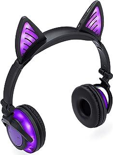 SoundBeast Bluetooth Cat Ear Headphones with Glowing Purple