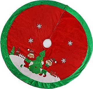 Athoinsu 35'' Christmas Tree Skirt with Adorable Red Elf Boys Girls Tree Mat Xmas Holiday Decoration Supplies