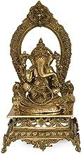 Lord Ganesha Seated on Prabhawali Throne - Brass Statue