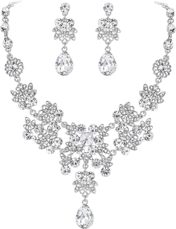 EVER FAITH Crystal Bridal Leaf Drop Popular brand Tear Earrings Necklace Vine Max 72% OFF