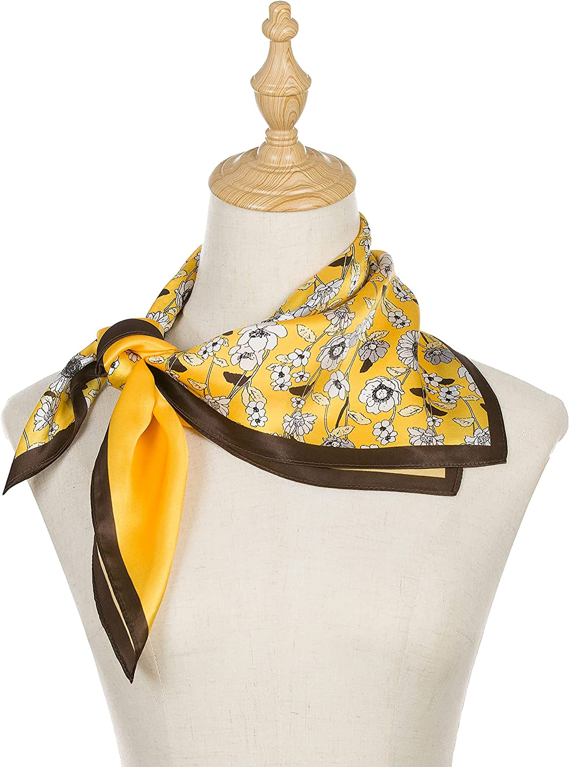 100% Mulberry Silk Scarf, Yellow Flower Designer Head Scarf, Silk Scarf For Hair Wrapping At Night, Pure Silk Scarf For Women, Square Silk Fabric Neckerchief