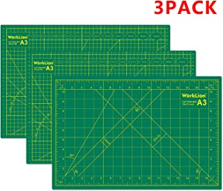 WORKLION Self Healing Cutting Mat - 12 x 18 inch Double Sided 5-Layer Gridded Rotary PVC Cutting Board, for Sewing, Quilting, Scrapbooking and Arts & Crafts Projects (3 Pack)