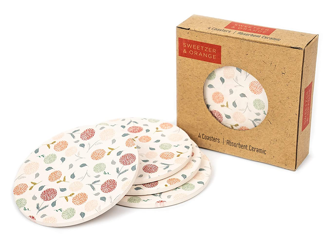 Ceramic Coasters for Drinks by Sweetzer & Orange - Cream Floral Drink Coasters, Round 4 Piece Coaster Set with Absorbent Ceramic Stone and Cork Base - Absorbant For Table, Desk and Bar