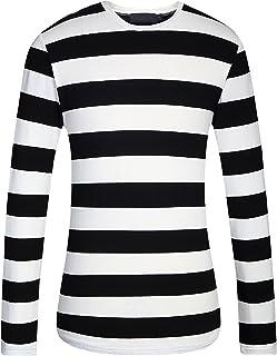 SSLR Men's Cotton Crew Neck Casual Long Sleeves Stripe T-Shirt